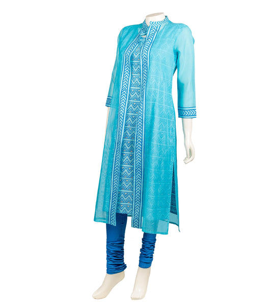 Teal Blue Hand Block Printed Jacket Style Indian Kurta