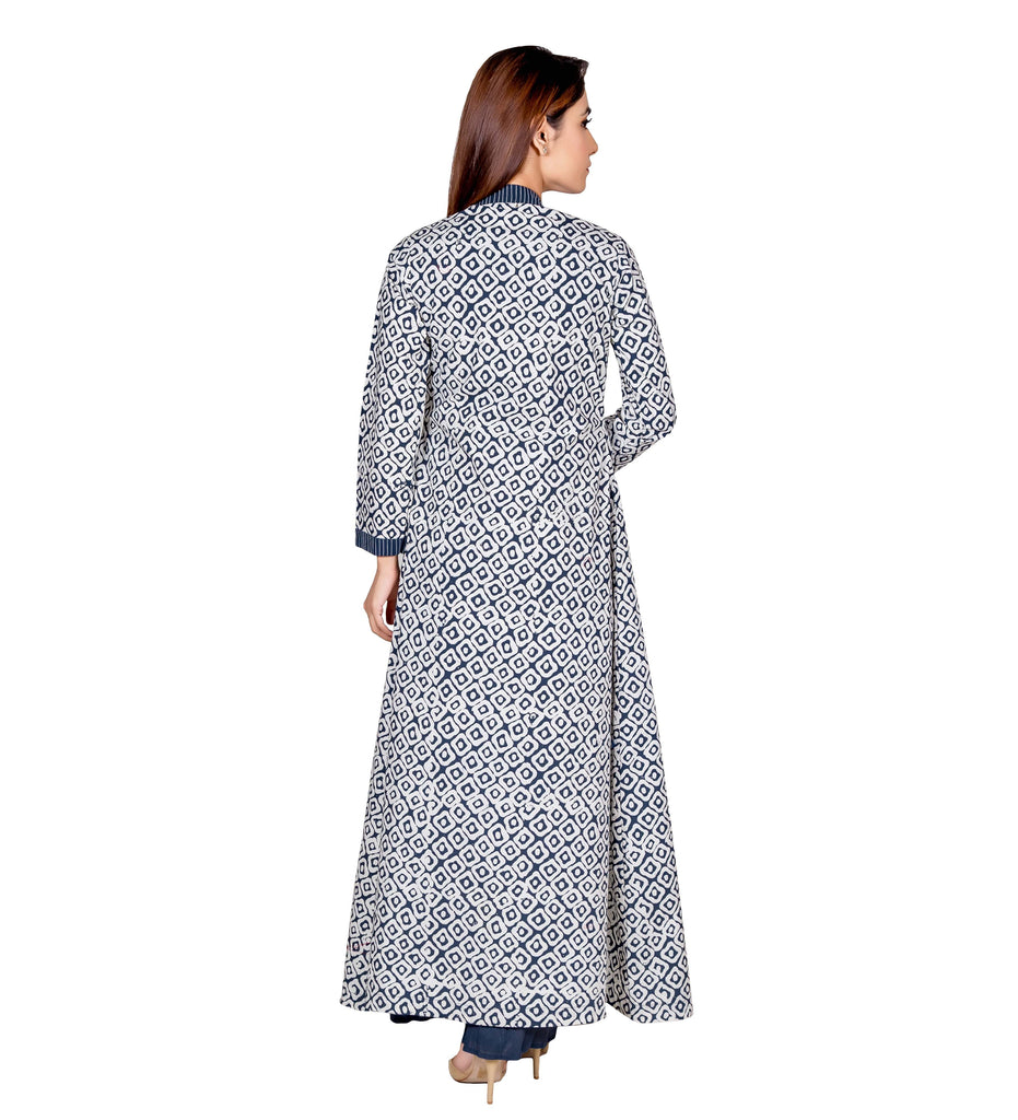 Blue & White Hand Block Printed Indo Western Long Jacket Dress