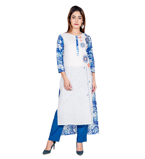 Blue / White Hand Block Printed Embroidered Indo Western Indian Kurta
