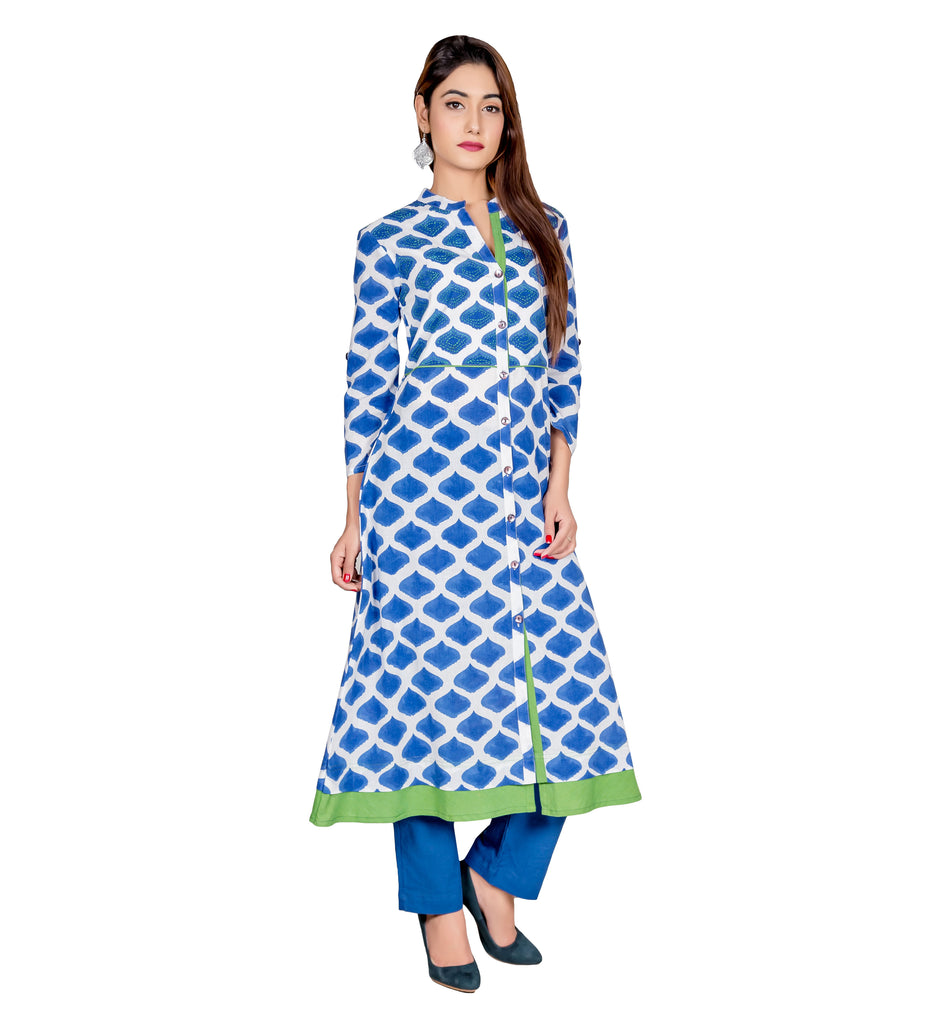 BLUE HAND BLOCK PRINTED INDO WESTERN INDIAN KURTA