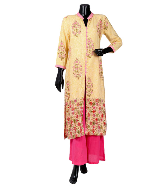 Yellow / Pink Flat Mandarin Collar Straight Cut Centre Slit Indian Kurta