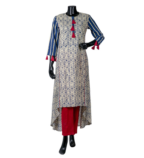 Blue /Beige High Low Indo Western Indian Kurti