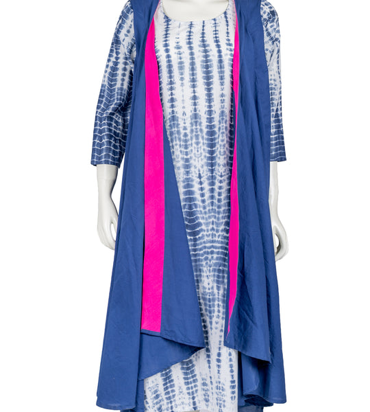 Navy Blue / White Indo Western Kurta With Shrug And Palazzo