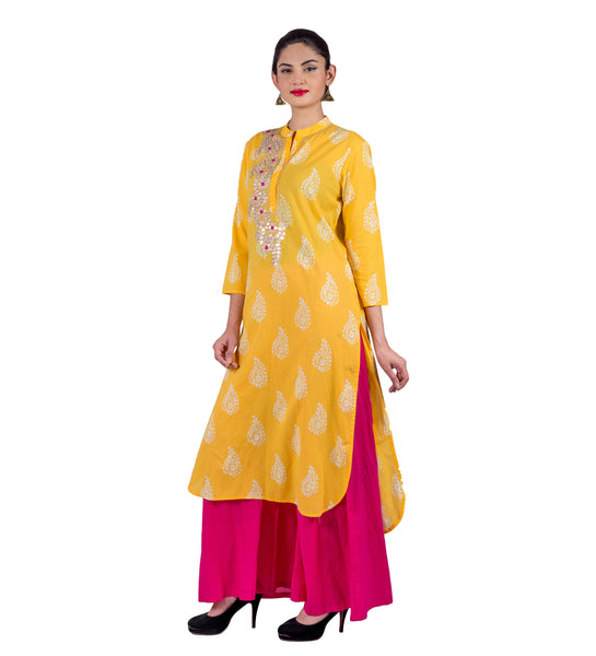 High Low Style Yellow / Magenta Indo Western Kurti with Palazzo