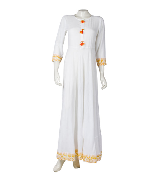 Hand Block Printed White / Yellow Indo Western Maxi Dress with Front Tassels