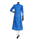 Chevron / Indigo Blue Chanderi Hand Block Printed Indian Kurta