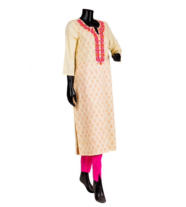 Hand Block Printed Embroidered Off White / Pink Straight Indian Kurta