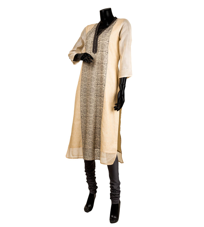Beige Hand Block Printed Embroidered Indian Kurta