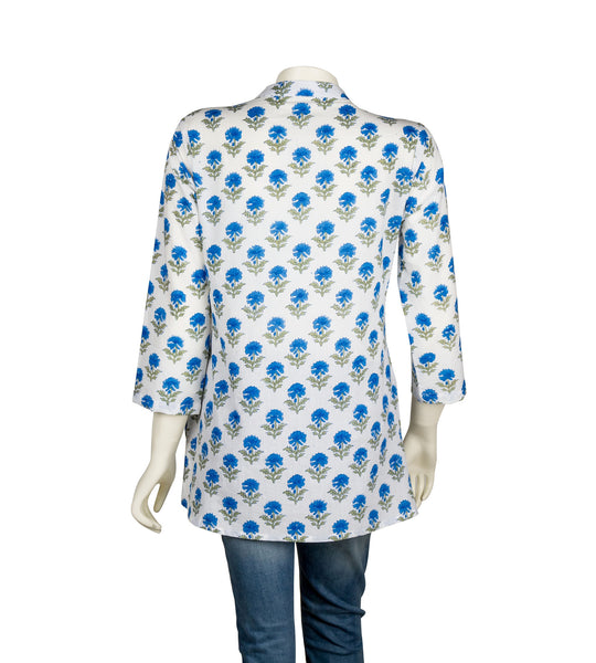 White Blue Pleated Hand Block Printed Top