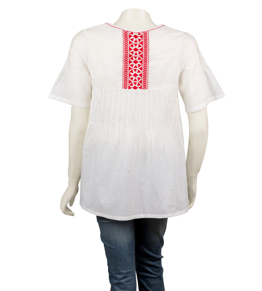 White/ Red Tasseled Embroidered Top
