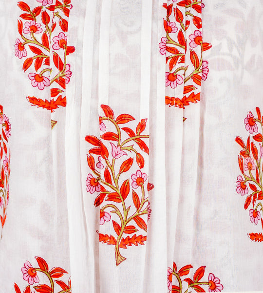 Red and Orange Hand Block Printed Double Layed Kurta - MISSPRINT