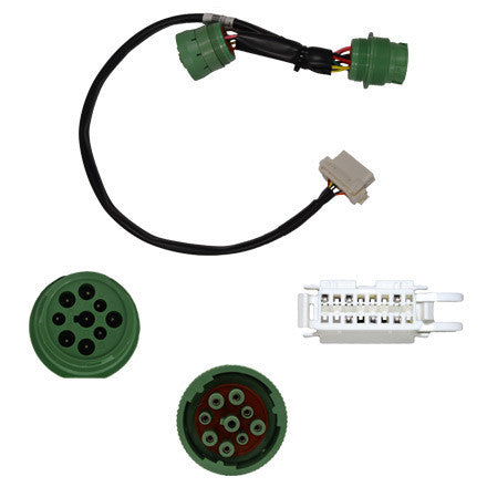 GEOTAB GREEN Type II Y-Harness, Deutsch 9-pin/OBDII for D-hole Mounting w/ Plastic Jam Nut