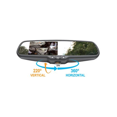 "Accele RVMDVR360 4.5"" LCD Smart Mirror with 360 Degree Dash Camera 