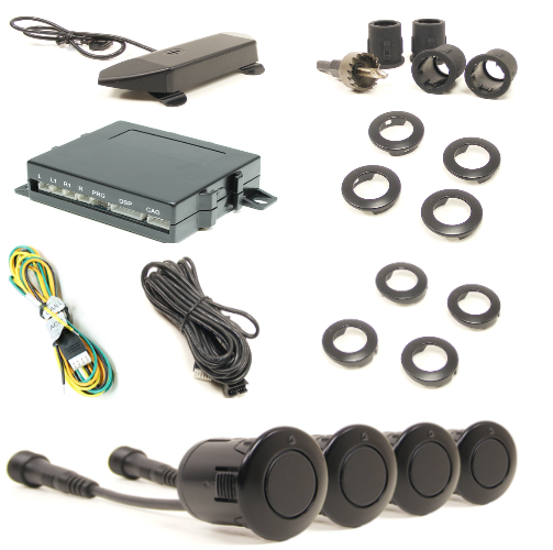 Rostra 2501920FZ 4 Sensor Front Parking Sensor Kit | Works on Steel Bumpers - Lockdown Security
