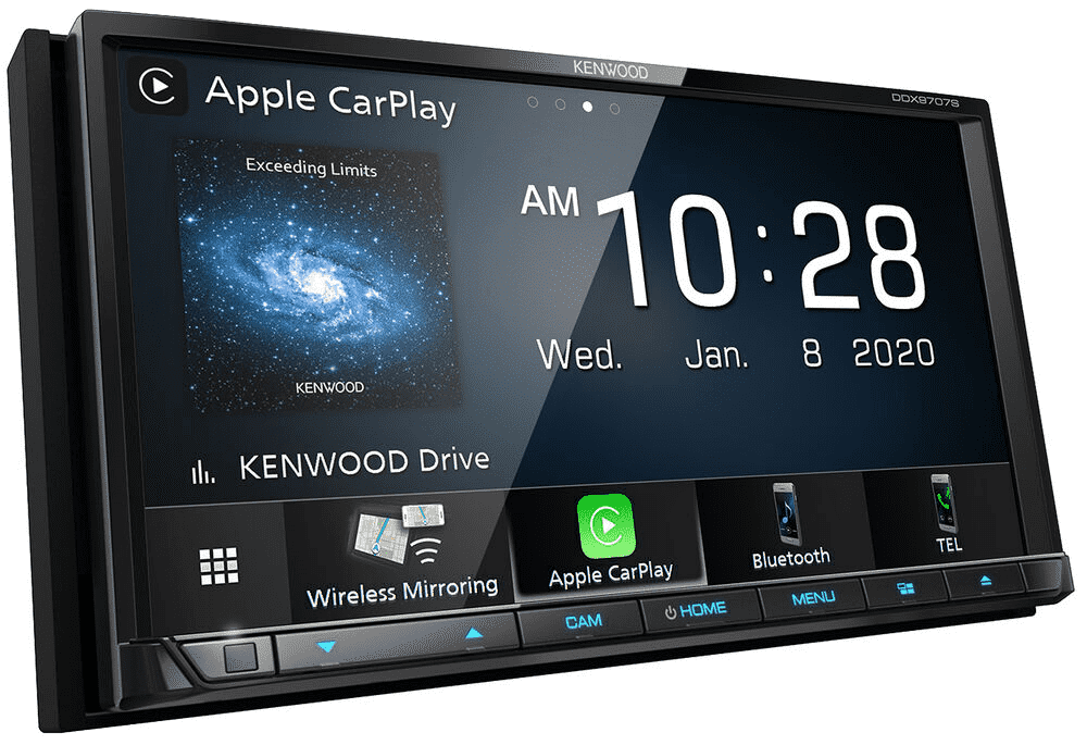 Kenwood DMX9707S Multimedia Receiver with Wireless Apple CarPlay and Android Auto - Lockdown Security