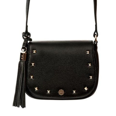 Indra Crossbody - Black Pebble Leather Handbag by Cristina Sabatini With Strap View