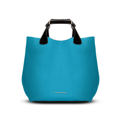 Kristen Tote - Caribbean Blue Leather Handbag By Cristina Sabatini