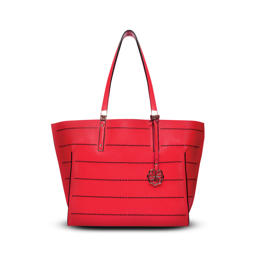 Priscilla Tote - Crimson Red Leather Handbag by Cristina Sabatini