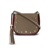 Woman's Handbag Indra Crossbody - Mushroom & Ruby Red Pebble Leather Handbag by Cristina Sabatini