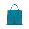 Charlotte Tote - Caribbean Blue Leather Handbag by Cristina Sabatini Front Product View