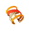 Gladiator Cuff Bracelet - 18K Gold Plated - Saffron Python Leather