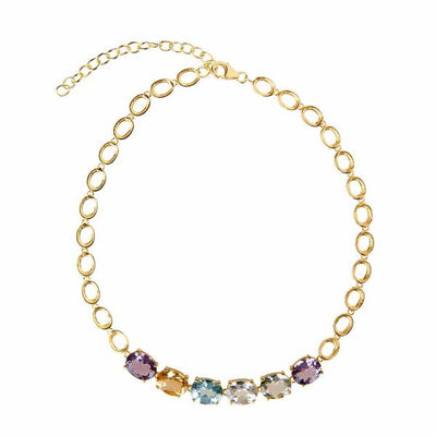 Cristina Sabatini: Halo Necklace - 18K Gold - Multi Gemstones