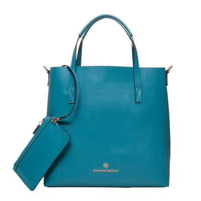 Charlotte Tote - Caribbean Blue Leather Handbag by Cristina Sabatini Back Product View