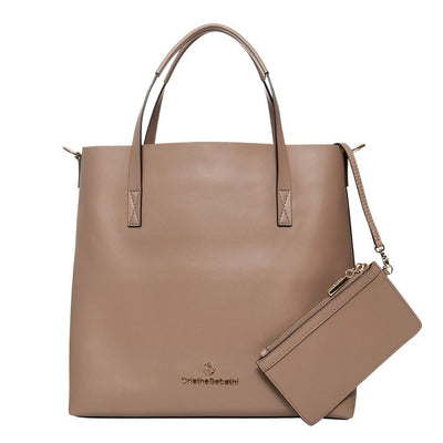 Charlotte Tote - Hazelnut Leather Handbag by Cristina Sabatini Back Product View
