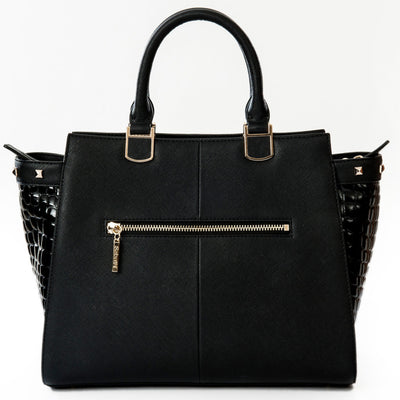 Women's Handbags- Black Alexandra Leather Tote Handbag