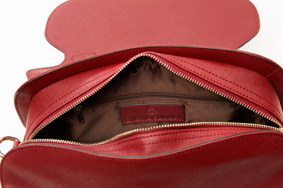 Accessories - Women's Handbags - Angelina Satchel in Cranberry - Saffiano Leather Handbag by Cristina Sabatini Inside Bag View
