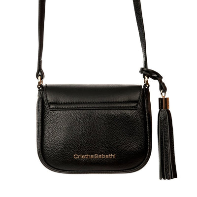 Indra Crossbody - Black Pebble Leather Handbag by Cristina Sabatini Back Product View
