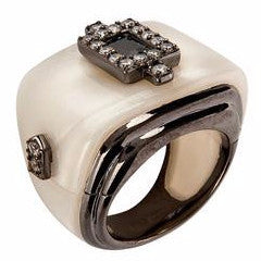 Jewelry -Women's Rings -Mother of Pearl Black Rhodium Rectangular Ring - by Cristina Sabatini