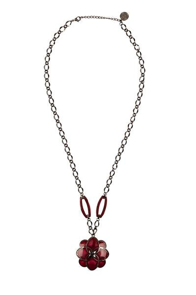 Cristina Sabatini: CS Peonia Necklace - Burgundy and Black Rhodium