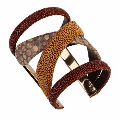 Gladiator Cuff Bracelet - 18K Gold Plated - Brown Python Leather