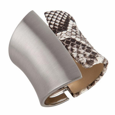 Chimera Cuff Bracelet - Silver - Natural Python Leather