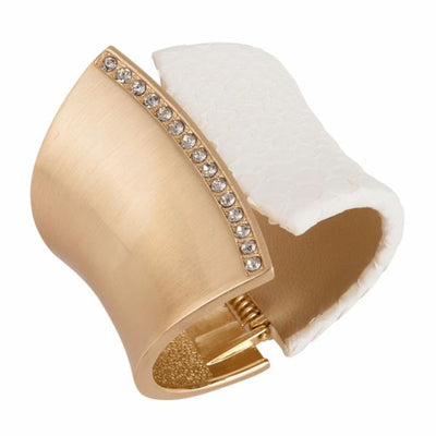 Chimera Bangle Bracelet with CZs - 18K Gold Plated - Snow Python Leather