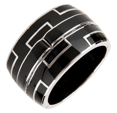Bridges Bangle Bracelet - Black Rhodium Silver - Black