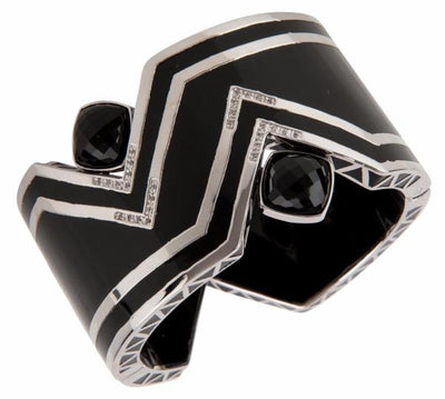 Pyramid Bangle Bracelet - Rhodium - Onyx