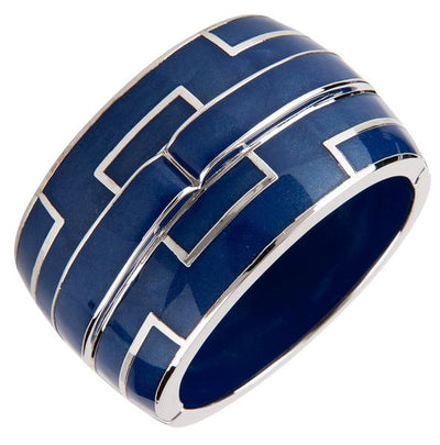 Bridges Bangle Bracelet - Rhodium Silver - Blue