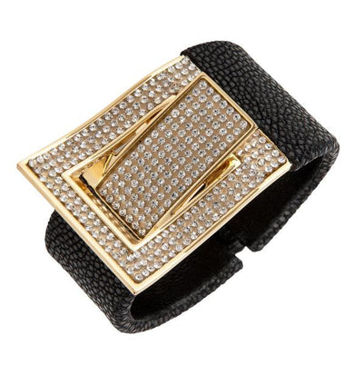 Cristina Sabatini Leather Jewelry - Black Stingray CZ Buckle Bangle
