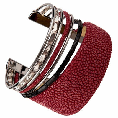 Cobra Cuff Bracelet - Silver - Bordeaux Leather