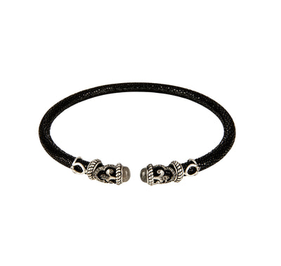 Cristina Sabatini: Rope Scroll Choker Necklace Lapis Stingray