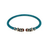 Cristina Sabatini: Rope Scroll Choker Leather Necklace Turquoise Stingray