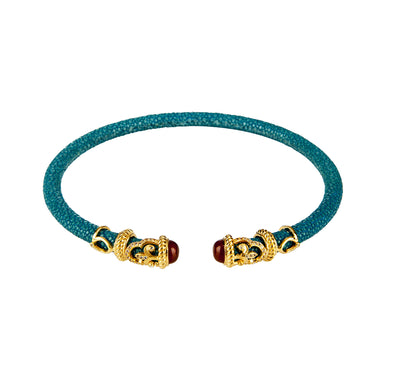 Rope Scroll Choker Necklace - Turquoise Stingray