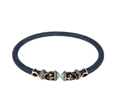 Cristina Sabatini: Rope Scroll Choker Leather Necklace Black Stingray