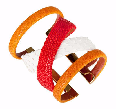 Gladiator Cuff Bracelet - 18K Gold Plated Coral Stingray Leather