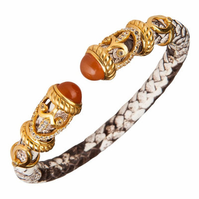 Python Rope Scroll Bangle Bracelet - 18K Gold Plated - Natural Python Leather