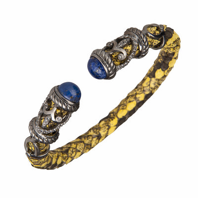 Python Rope Scroll Bangle Bracelet - Sterling Silver - Saffron Python Leather