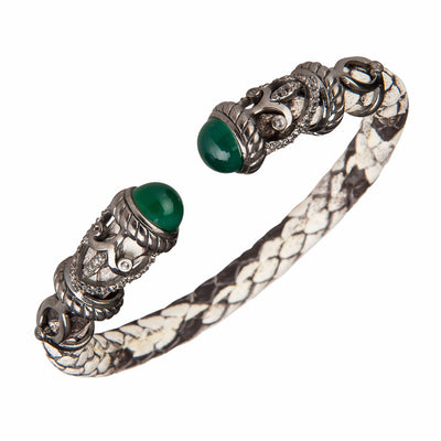 Python Rope Scroll Bangle Bracelet - Sterling Silver - Natural Python Black Rhodium- Leather