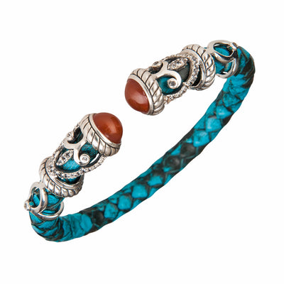 Python Rope Scroll Bangle Bracelet - Sterling Silver - Turquoise Python Leather
